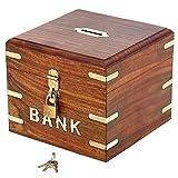 ShalinIndia Indian Coin Bank Money Saving Box - Banks For Kids & Adults - Wood Vacation Piggy Bank