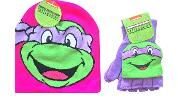 Amazon.com  Teenage Mutant Ninja Turtles Knit Pink Beanie Classic Donatello  with Matching Teenage Mutant Ninja Turtles Mittens Size 4-16  Clothing 75632848fcee