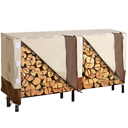 8' Rack (SONGMICS Heavy Duty Log Rack Cover Waterproof Firewood Cover 8ft UGLC96M)