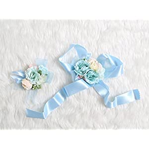 Petite Prom Wrist Corsage Silk rose and Boutonniere Set Pin Ribbon Included (Pale Blue theme) 84