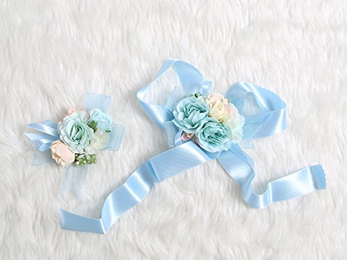 Petite Prom Wrist Corsage Silk rose and Boutonniere Set Pin Ribbon Included (Pale Blue theme)