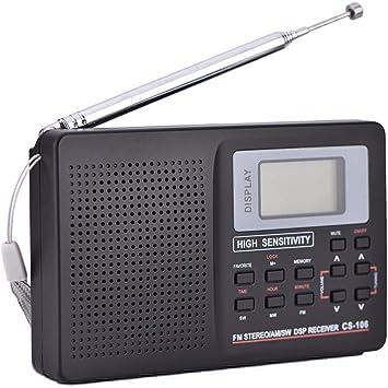 Radio portátil de Bolsillo, Receptor de frecuencia Completa de FM/Am/SW/LW/TV Receptor Radio Despertador Conexión USB con Auriculares(2#): Amazon.es: Electrónica