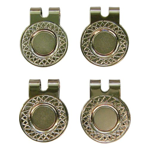 4 Silver Magnetic Hat Clips for Metal Golf Ball Markers (Type #1)