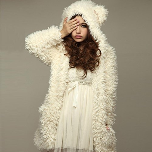 White Princer Womens Winter Outwear Cute Long Hooded Loose Sweater Warm Jacket Hoodie Rabbit Ladies 6qHOUntwH