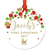 Andaz Press Personalized Round Metal Christmas Ornament, Baby's First Christmas 2018, Red Green and Gold Glittering Confetti Polka Dots, 1-Pack, Includes Ribbon and Gift Bag, Custom Name Year