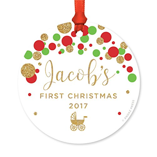 Andaz Press Personalized Round Metal Christmas Ornament, Baby's First Christmas 2019, Red Green and Gold Glittering Confetti Polka Dots, 1-Pack, Includes Ribbon and Gift Bag, Custom Name Year