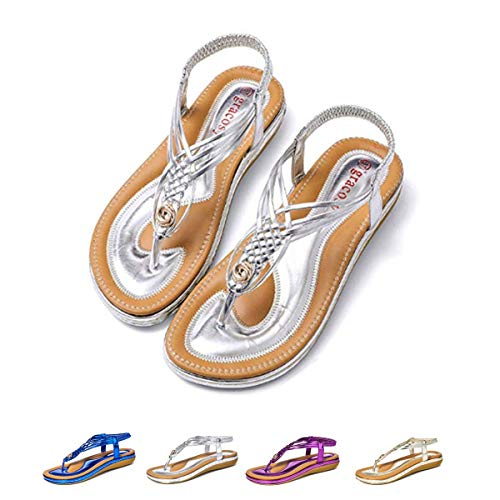 (Women's Flat Sandals Casual Slingback Summer Beach Clip Toe Flip Flops Thongs Shoes Bohemian Braided T-Strap Wedge Heel Silver 8 M US)