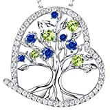 September Birthstone Created Blue Sapphire and Green Peridot Fine Jewelry Love Heart the Tree of Life Necklace Birthday Anniversary Gifts for Her Women Wife Daughter Grandma Sterling Silver 20''Chain