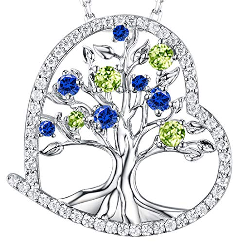 Dorella Love Heart The Tree Life Necklace Women August Birthstone Created Green Peridot Blue Sapphire Fine Jewelry Anniversary Birthday Gifts Her Wife Lady Pendant Sterling Silver