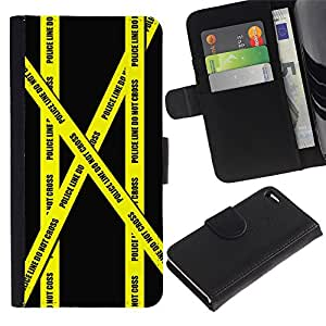 "Apple iPhone 4 / iPhone 4S , la tarjeta de Crédito Slots PU Funda de cuero Monedero caso cubierta de piel ("" Don'T Go Police Tape Crime Scene Yellow"")"