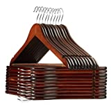 Casafield - 20 Walnut Wooden Suit Hangers - Premium Lotus Wood with Notches