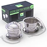 Large Tea Infuser (Set of 2) with Tea Scoop and Drip Trays – Multi Cup Size Stainless Steel Loose Leaf Tea Strainer and Steeper for a Superior Brewing Experience