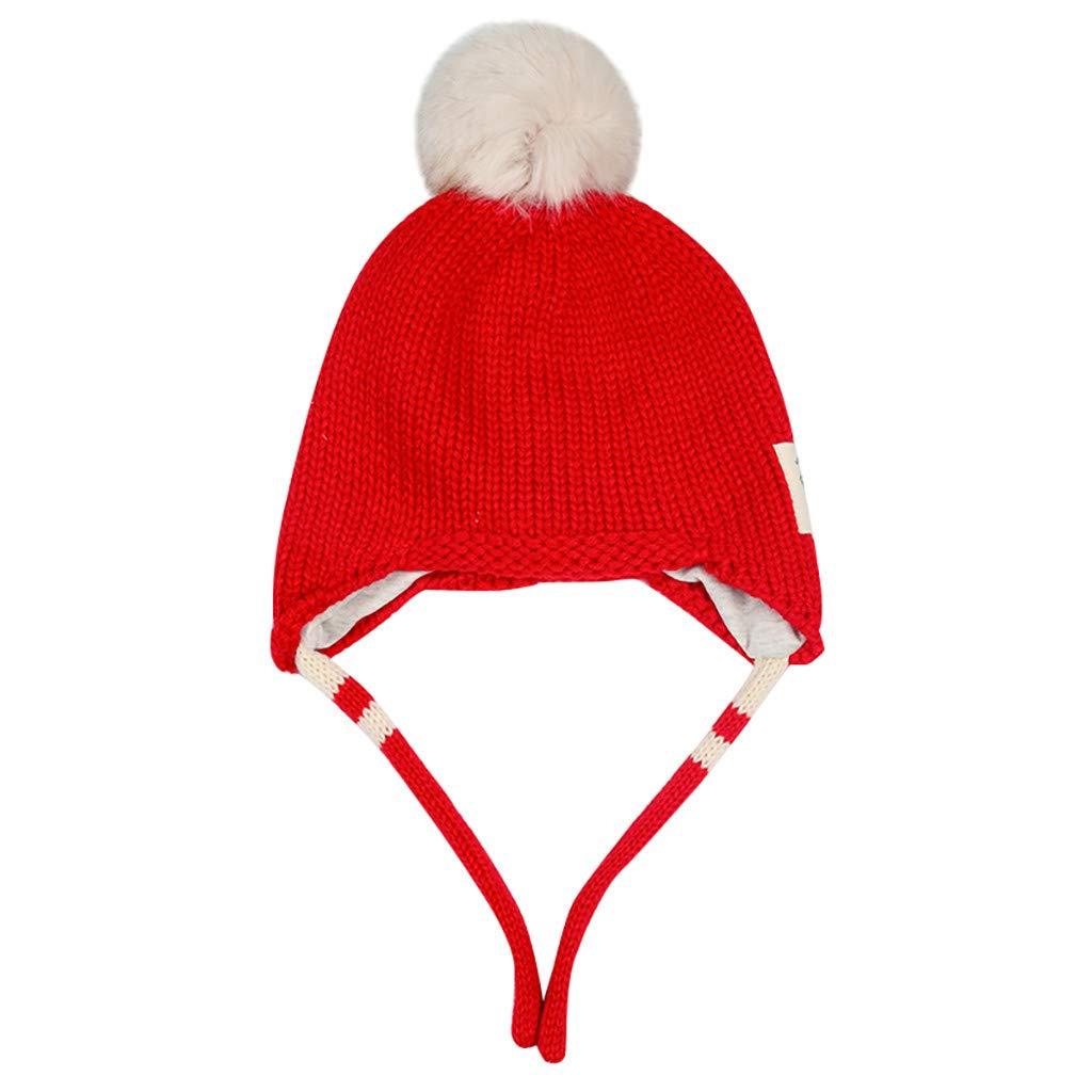 SUMTTER Cappellini Neonata Invernali Cotone Caldo Berretto Neonato Orecchie con Pompons Cappello Bambina//Bambino Unisex 0-2 Anni