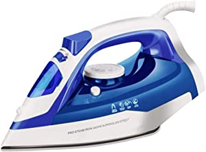 QAZWSX Easy Steam Compact Iron 2400-Watt Micro Steam Iron Ceramic Base Plate with Automatic Shut Off Continuous High Pressure Steam Up to 45g/min,Blue
