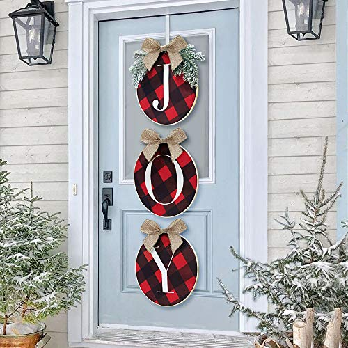 ORIENTAL CHERRY Christmas Wreath - Joy Sign - Buffalo Check Plaid Wreath for Front Door - Rustic Burlap Wooden Holiday Decor for Home Window Wall Farmhouse Indoor Outdoor (Decor Holiday Door)