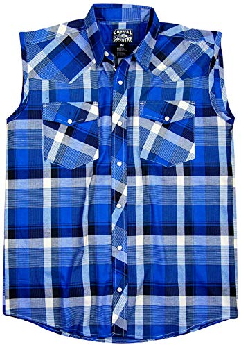 (Men's Classic Plaid Sleeveless Western Shirt | Snap-Front (XX-Large, Blue (30)) )