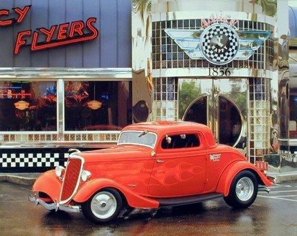 Street Hot Rod At Old Cafe Food Diner Car Print Poster (Diner Old Cars)