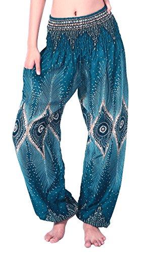 Boho Vib Women's Rayon Elephant Print Boho Harem Yoga Pants (Small/Medium, Peacock E Teal Green)