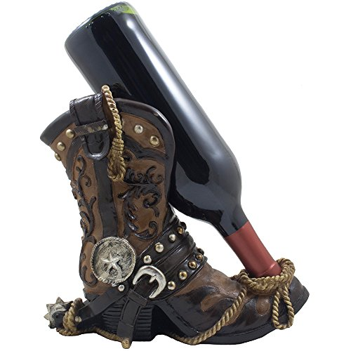 Fancy Cowboy Boot Wine Bottle Holder Decorative Display Stand Statue with Rope, Spur & Texas Star for Country Western Bar Decor and Kitchen Countertop Wine Racks As Great Gifts for Cowboys by Home 'n Gifts