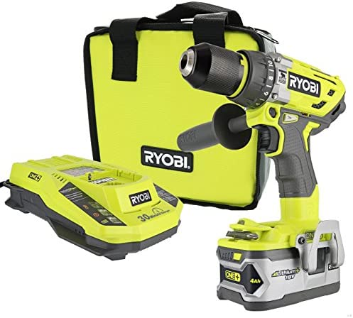 Ryobi P1813 One 18V Lithium Ion 750 Inch Pound Cordless Hammer Drill Power Tool Kit Includes Battery Charger and Bag