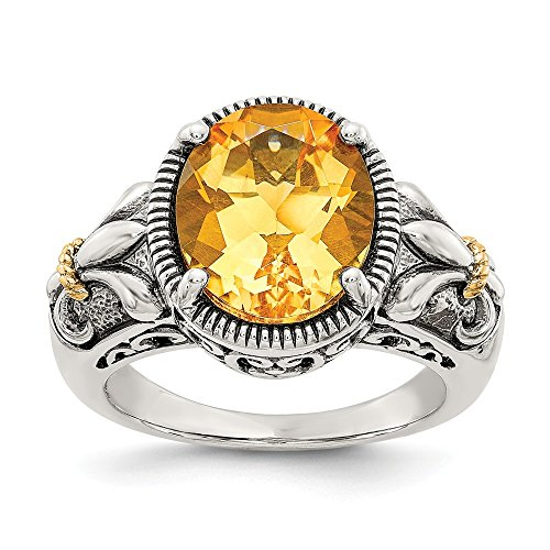 925 Sterling Silver 14k Yellow Citrine Band Ring Size 7.00 Stone Gemstone Fine Jewelry Gifts For Women For Her