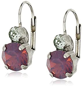 """Sorrelli """"African Violet"""" Round Crystal French Wire Drop Earrings"""
