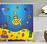 Ambesonne Yellow Submarine Shower Curtain Set, Nautical Kids Colorful Fish Underwater Jellyfish Seahorse Shells Starfish, Fabric Bathroom Decor with Hooks, 84 inches Extra Long, Blue Yellow