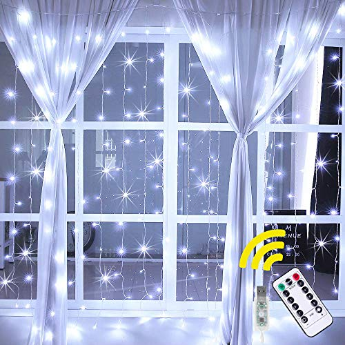 Ollny Curtain String Lights 192 LEDs USB Powered Window Curtain Fairy Lights for Bedroom Wedding Party Christmas Indoor Outdoor Decoration with Remote Control and 8 Modes Cool White