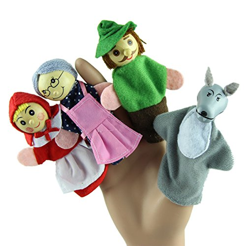 (Little Story  Hood Finger, 4PCS Little Red Riding Hood Finger Puppets Baby Educational Toy)