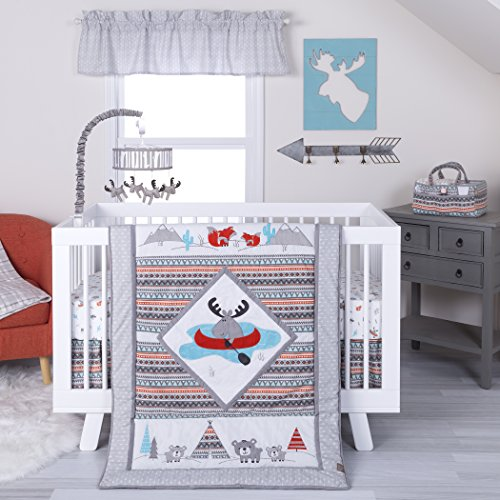 Moose Canoe (Trend Lab Moose Canoe 4 Piece Crib Bedding Set, Multi)
