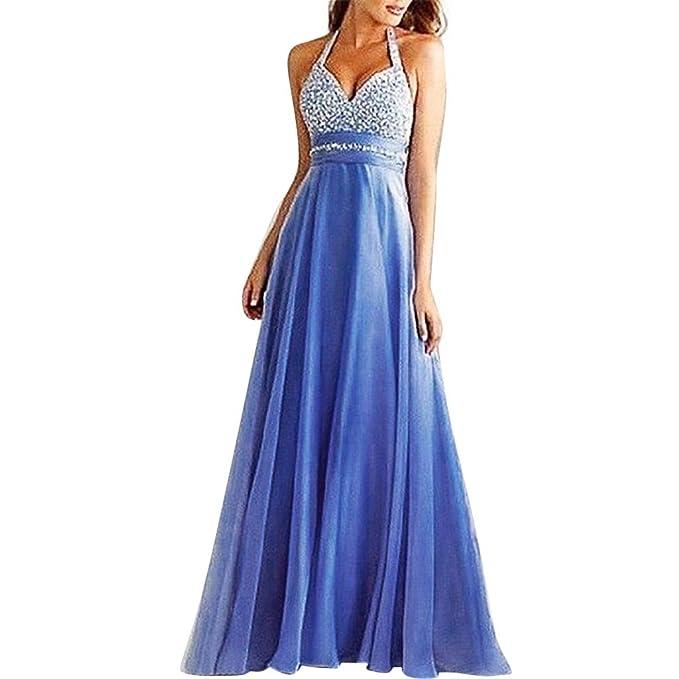 25567eaa68 Women's Hanging Neck Halter Evening Dress Sequin Tulle Patchwork ...