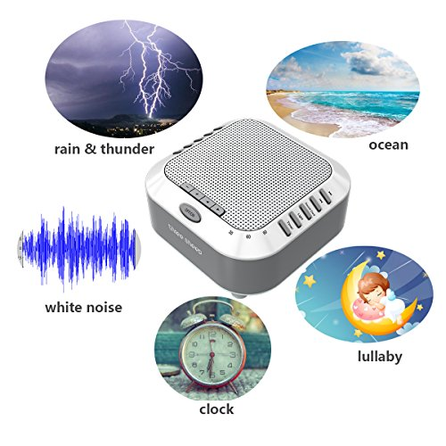 three sheep White Noise Machine Sound Machine, Music Player with Night Light, Preset 5 Soothing Sounds, Timer, and Rechargable Battery (sliver) by three sheep (Image #2)
