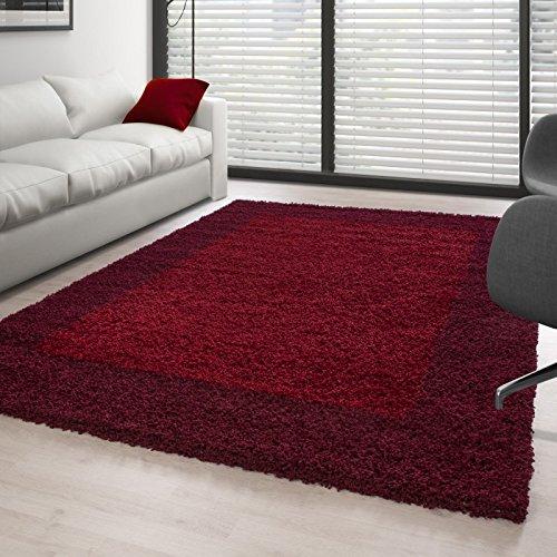 Hochflor Langflor Wohnzimmer Shaggy Teppich 2 Farbig Florhöhe 3cm - Rot-Bordeaux, 160x230 cm