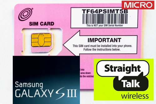 Straight Talk Micro SIM Card for Samsung Galaxy S3 (T-Mobile or unlocked GSM) (MICRO Size SIM). Also works with iPhone 4, 4S, Galaxy S4, Note II, LG Nexus 4, HTC One & S, Droid Razr Maxx, & Nokia Lumia Series