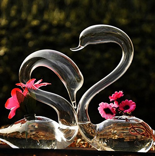 (Unigift A Pair of Transparent Glass Swan Vase for Valentine Wedding Lovers Gift Household Home Decor)