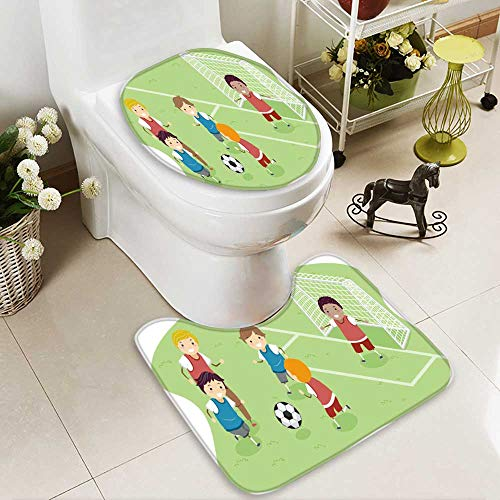 Analisahome Toilet carpet floor mat stickman illustration featuring a group of boys playing soccer 2 Piece Shower Mat set by Analisahome