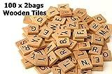 200-Scrabble-Tiles-NEW-Scrabble-Letters-Wood-Pieces-2-Complete-Sets-Great-for-Crafts-Pendants-Spelling