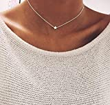 Befettly Gold Star Necklace, Mini Cute Silver