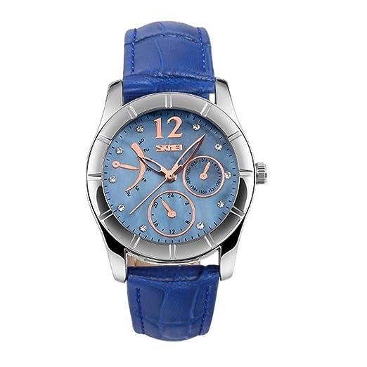 Nuevos Relojes para Mujer, Clásico Correa de cuero Relojes de Pulsera para Damas Mujeres - Azul: Amazon.es: Relojes