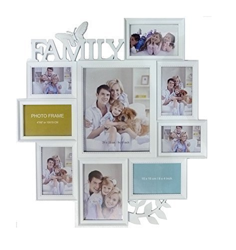 Large White Butterfly Leaf Wall Hanging Family Photo Frame Multi