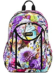 JFT Backpack with Colourful Design, 16 by 6 by 12 Inch within Laptop Compartment