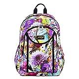 JFT Colorful Flower Backpack Fashion Lady Shoulder Bag Travel School Backpack Rucksack