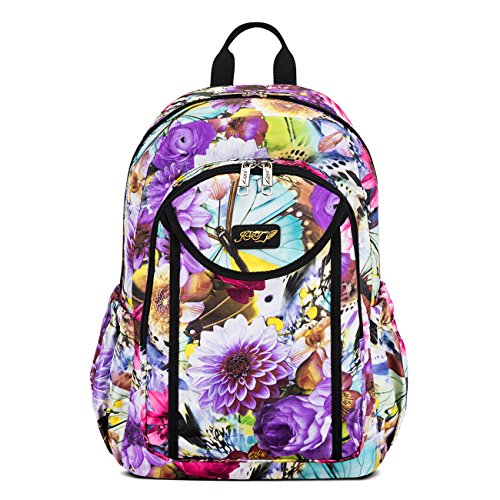 JFT Deluxe Colorful Water Resistant Backpack For Women & Girls W/Air-Cell (Colorful Backpacks)