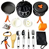Gold Armour 17Pcs Camping Cookware Mess Kit Backpacking Gear & Hiking Outdoors Bug Out Bag Cooking Equipment Cookset | Lightweight, Compact, Durable Pot Pan Bowls (Orange)