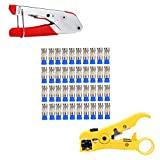 YaeTek Coaxial Coax Compression Connector and 40Pcs F Compression Connectors RG6 with Cable Wire Stripper Stripping Tool Compression Crimper Crimping tool RG6 RG59 RG11