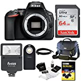Nikon D5600 24.2MP DX-Format DSLR Camera (Body Only) with Nikon Case + 64GB Card + Flash and Bundle