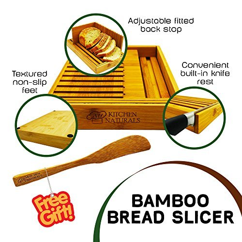 Premium Bamboo Foldable Bread Slicer – Built in Crumb Catcher and Knife Rest  Bread Slicing Guide, Bread Loaf Slicer– BONUS Bamboo Butter Spreader, Storage Bag and Guide Book.