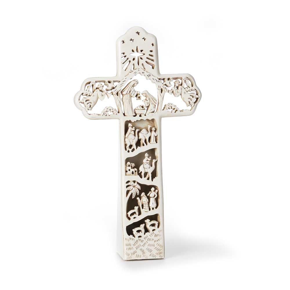Nativity Cross Antique White 7 x 12 Resin Stone LED Christmas Tabletop Figurine