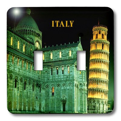 3dRose lsp/_80837/_2Leaning Tower Of Pisa Italy Lit At Night Double Toggle Switch