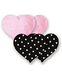 Nippies Black and Pink Heart Waterproof Adhesive Fabric Nipple Cover Pasties 2 Pairs